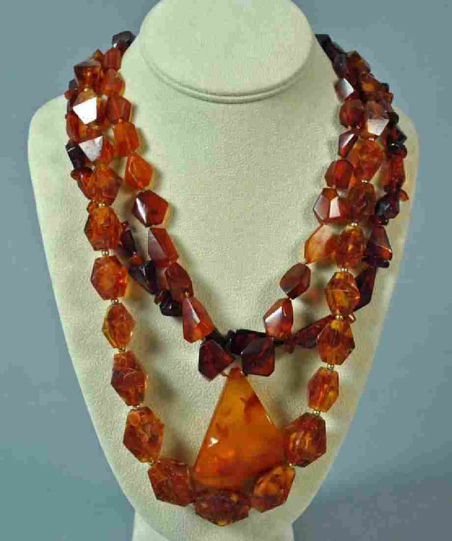 (3) AMBER BEADED NECKLACES