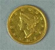 1853 US $1 LIBERTY HEAD GOLD COIN - DAMAGED