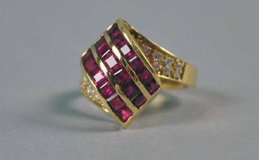 RUBY & DIAMOND RETRO STYLE RING