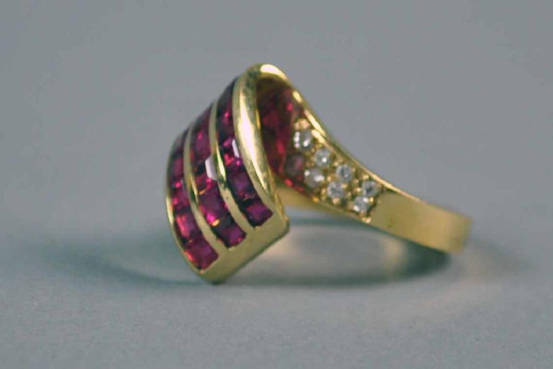 RUBY & DIAMOND RETRO STYLE RING - 2