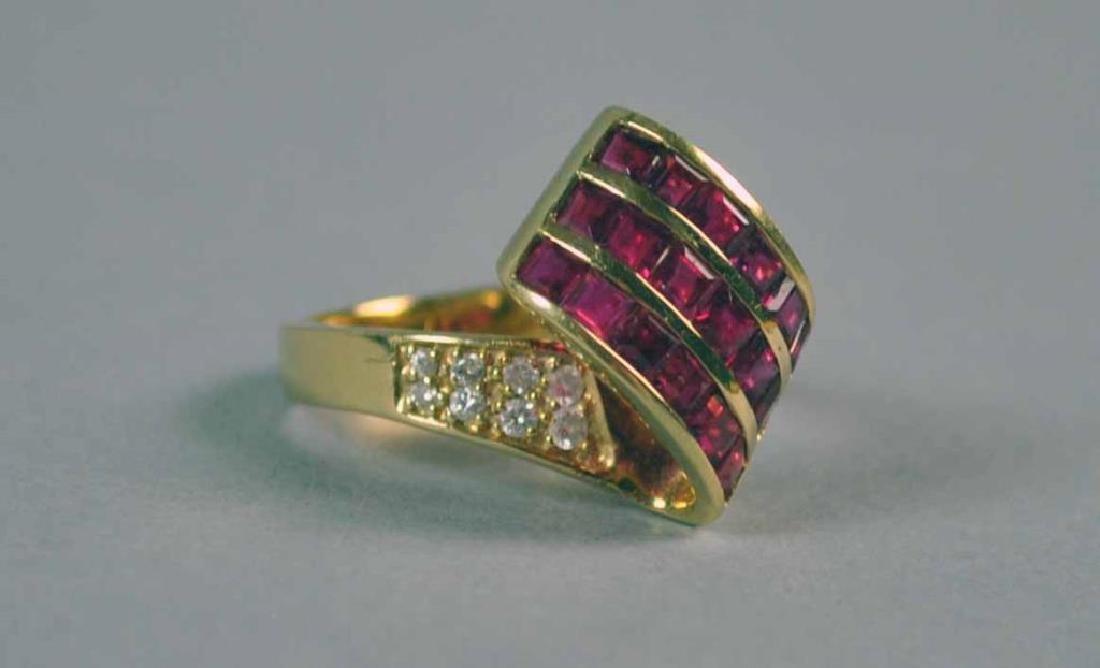 RUBY & DIAMOND RETRO STYLE RING - 3