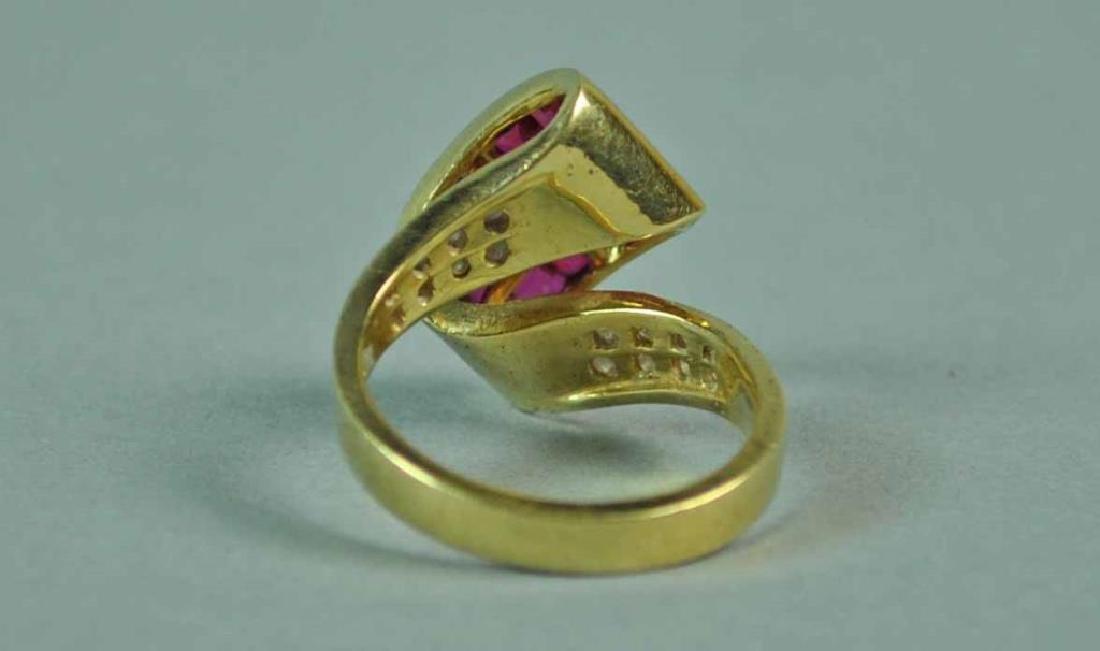 RUBY & DIAMOND RETRO STYLE RING - 4