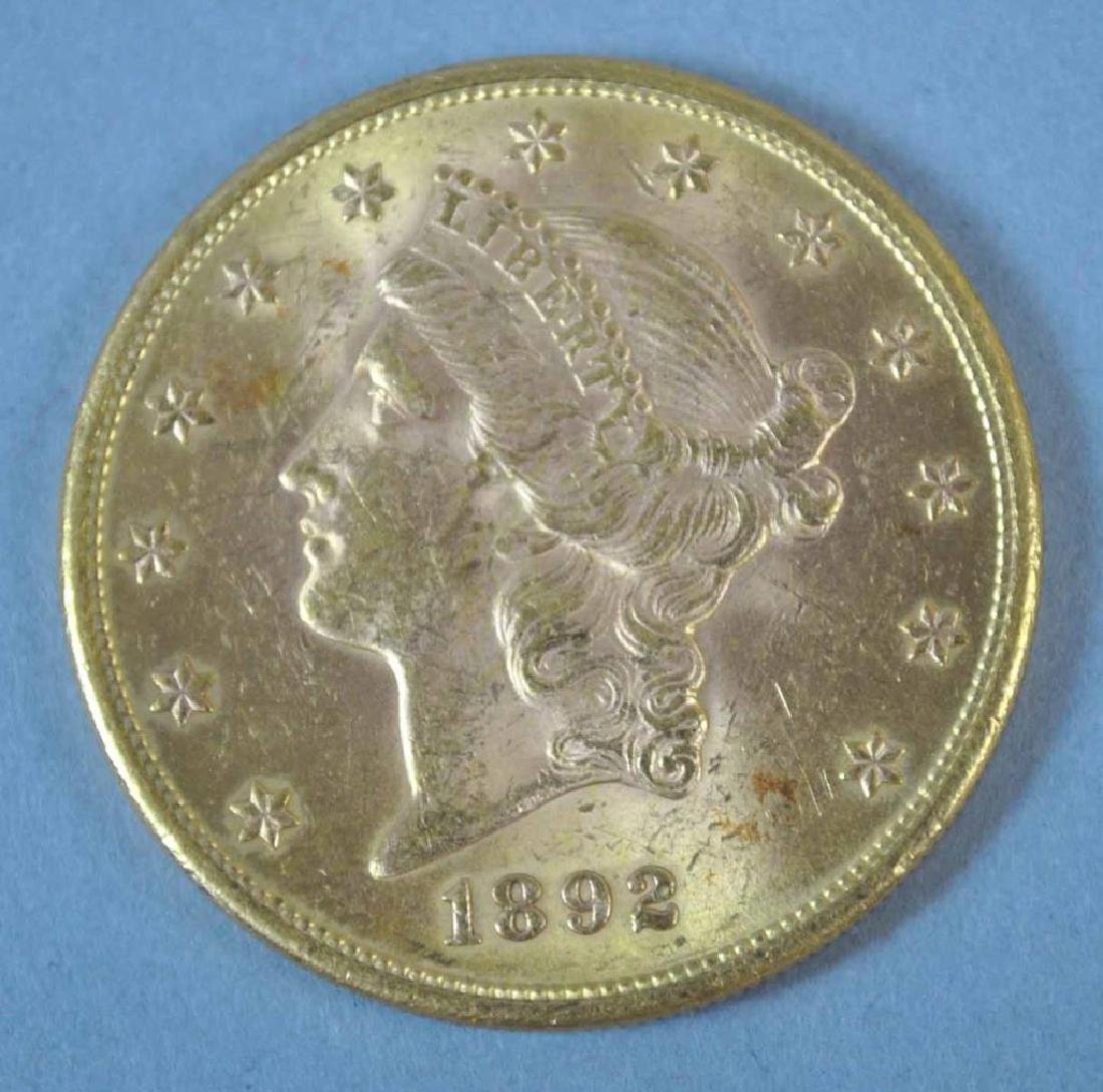 1892-S US DOUBLE EAGLE $20 GOLD COIN