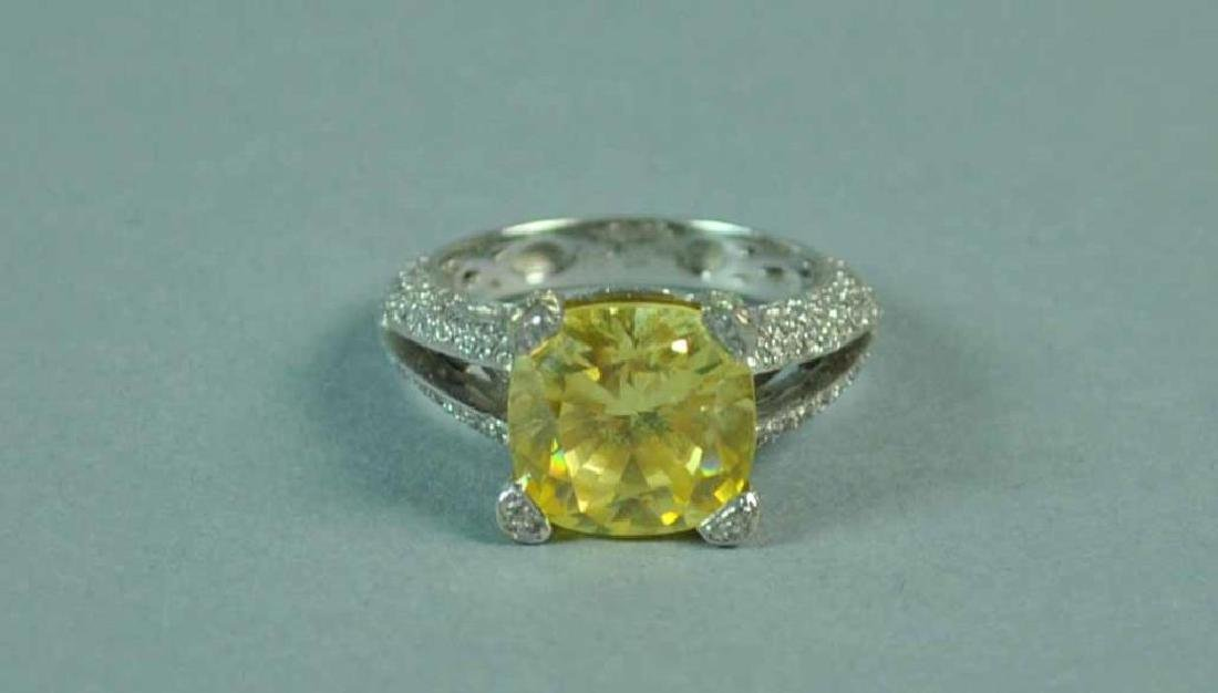 YELLOW CZ & WHITE DIAMOND RING