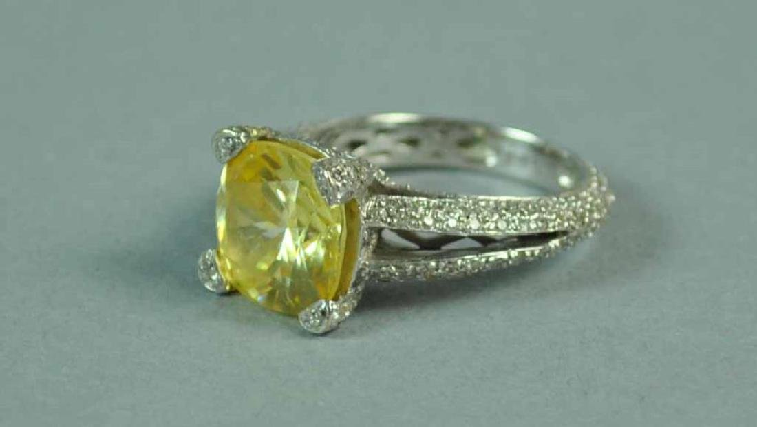 YELLOW CZ & WHITE DIAMOND RING - 2
