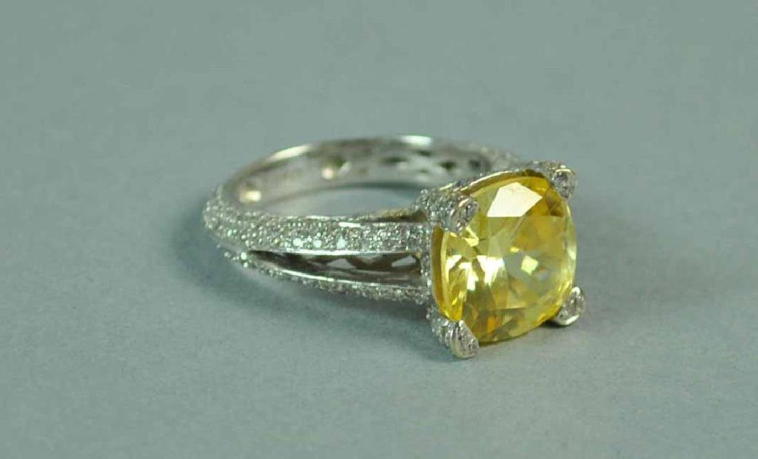 YELLOW CZ & WHITE DIAMOND RING - 3