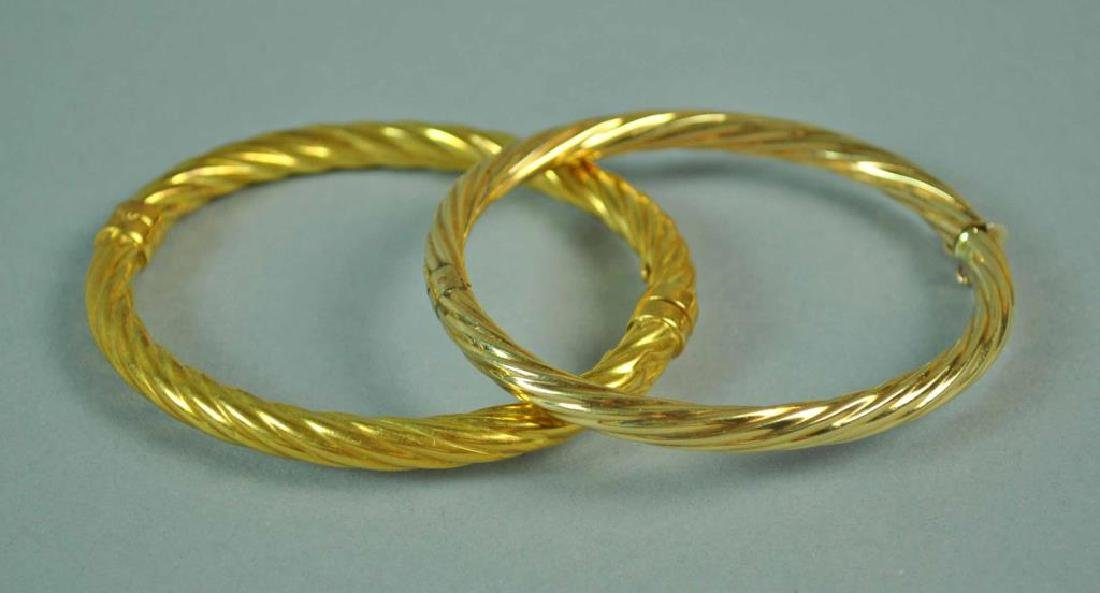 (2) ITALIAN GOLD HINGED BANGLE BRACELETS