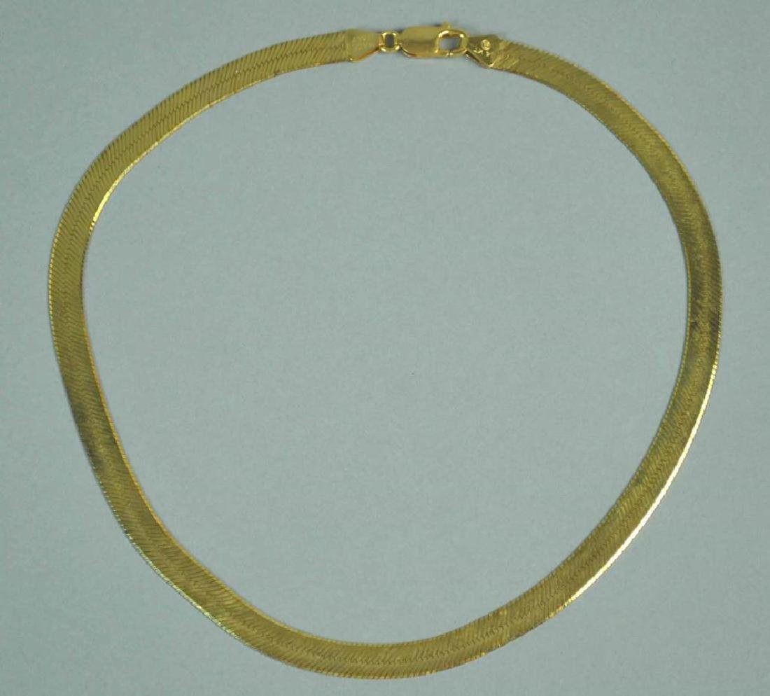 14K ITALIAN HERRINGBONE NECKLACE - 2
