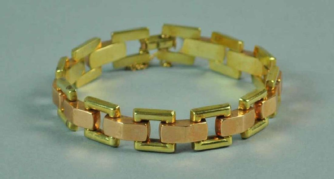 14K BICOLOR GOLD FANCY LINK BRACELET