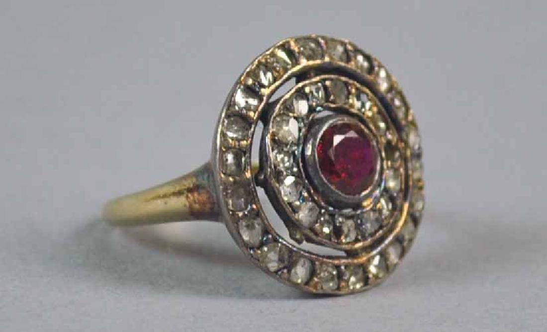 ANTIQUE ROSE CUT DIAMOND & RUBY RING
