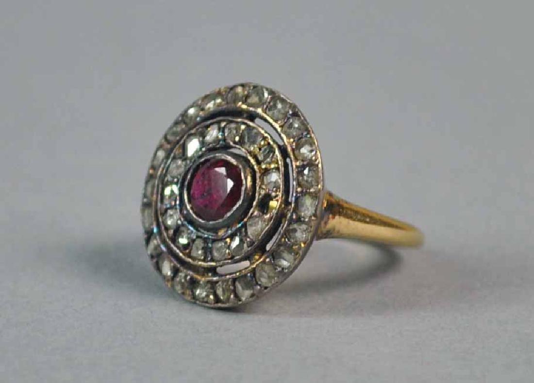 ANTIQUE ROSE CUT DIAMOND & RUBY RING - 2