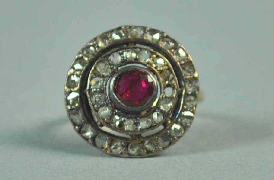 ANTIQUE ROSE CUT DIAMOND & RUBY RING - 3