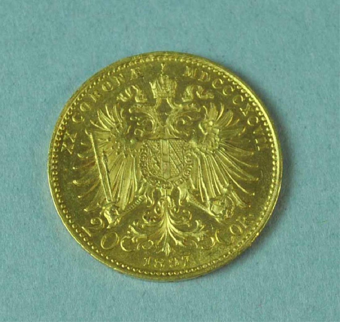 1897 AUSTRIAN 20 CORONA GOLD COIN - 2