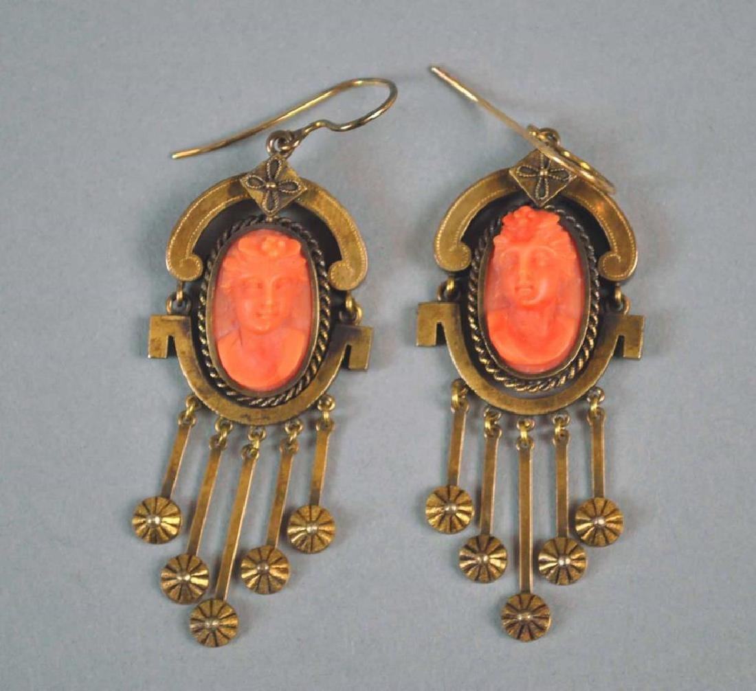 PAIR VICTORIAN GOLD CORAL DANGLE EARRINGS