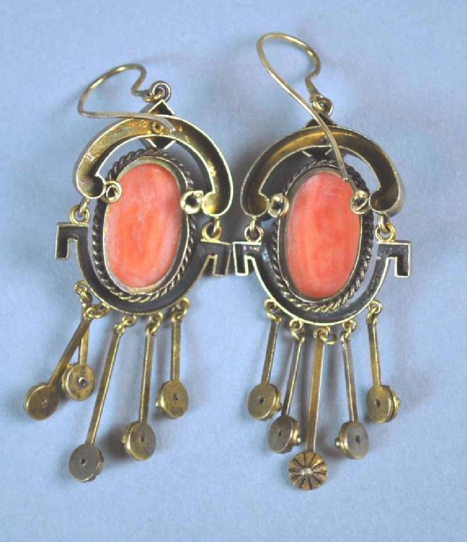 PAIR VICTORIAN GOLD CORAL DANGLE EARRINGS - 2