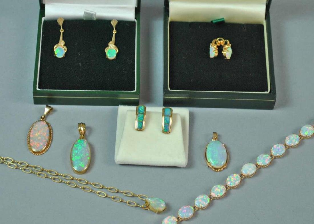 (7) GOLD & OPAL JEWELRIES AND A GOLD FAUX BRACELET