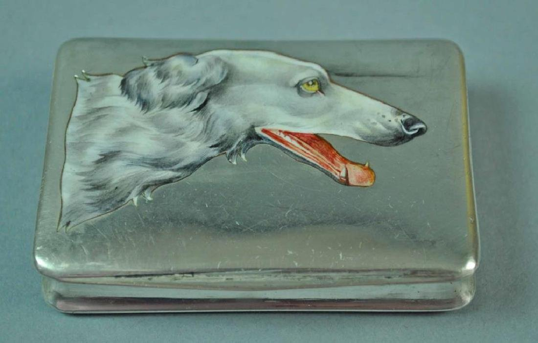 800 SILVER & ENAMELED DOG MOTIF CARD CASE