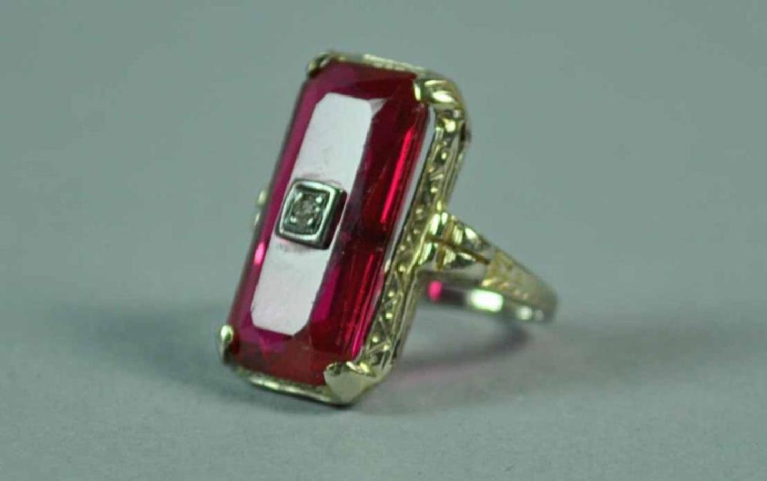 ART DECO 18K RED STONE RING - 2