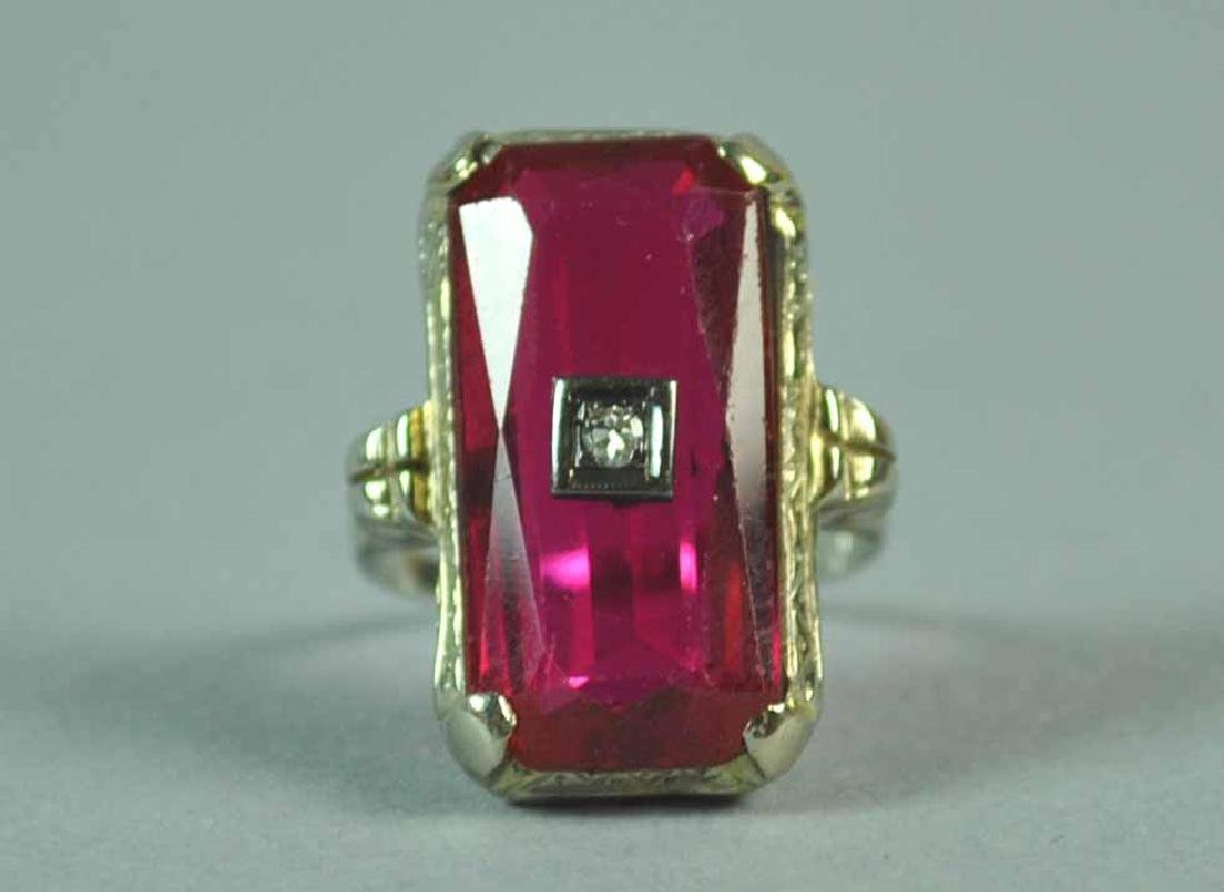 ART DECO 18K RED STONE RING - 3