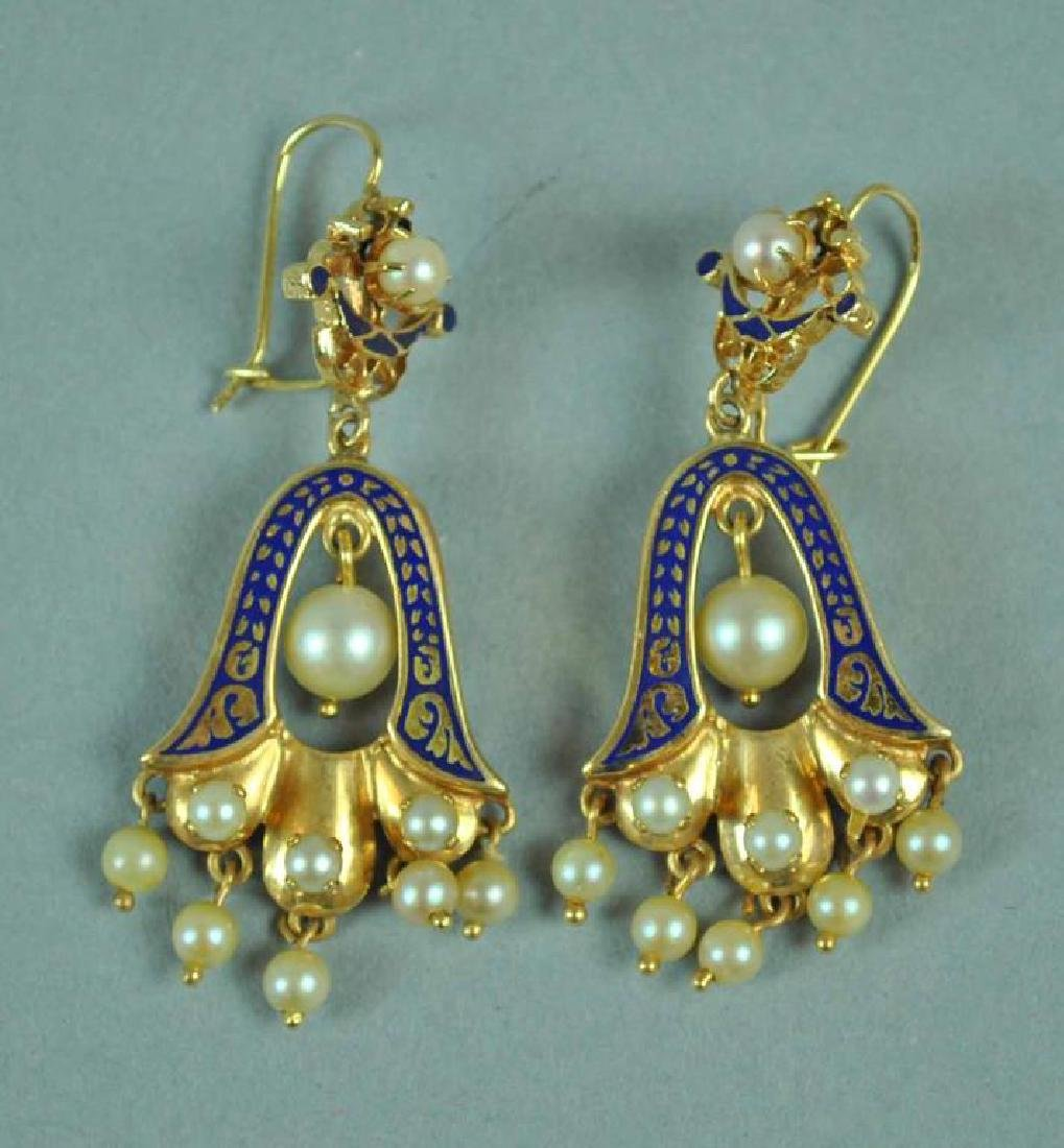 PAIR GOLD BLUE ENAMEL & PEARL DANGLE EARRINGS