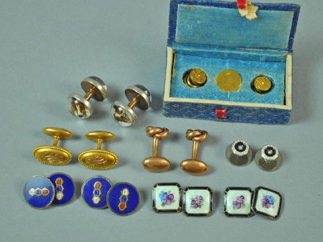 (7) CUFFLINKS AND A SHIRT STUD, MOST GOLD & 925 - 2