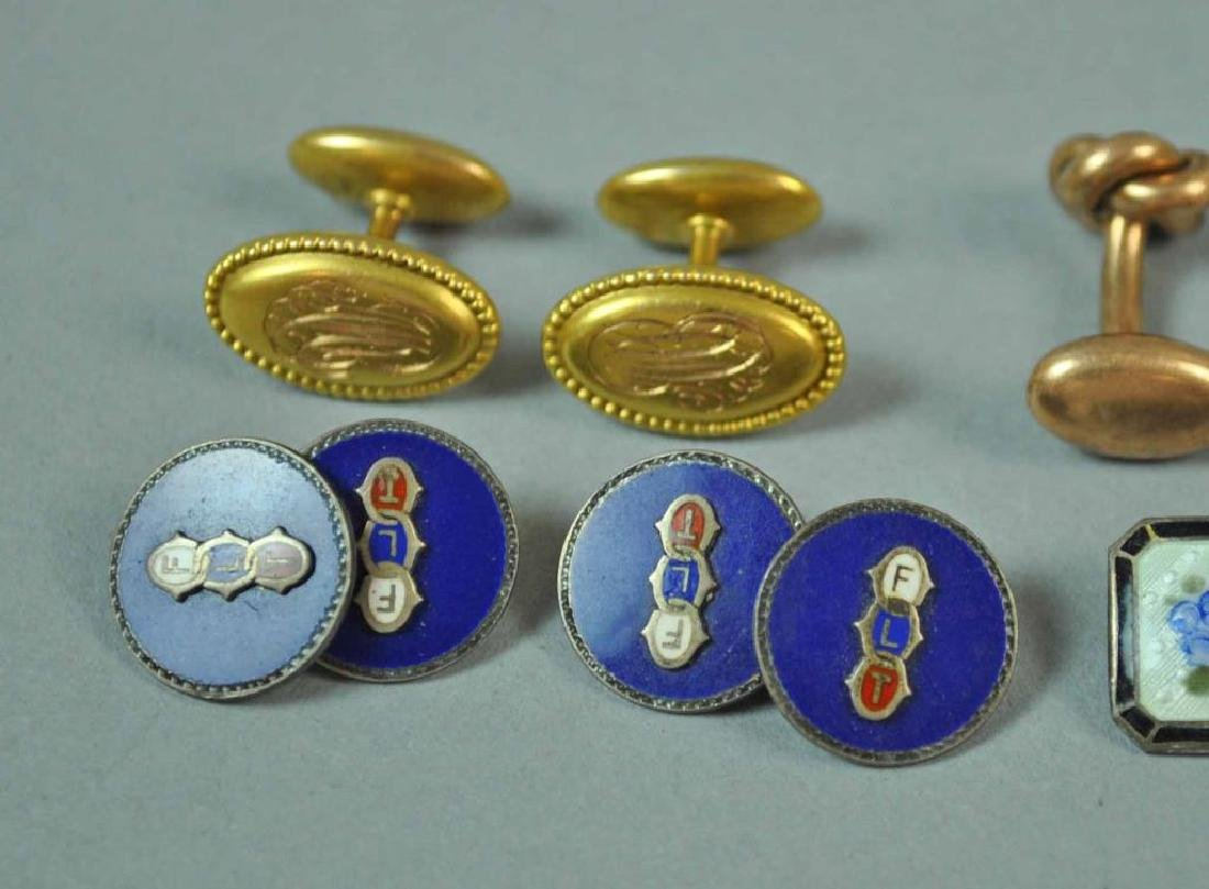 (7) CUFFLINKS AND A SHIRT STUD, MOST GOLD & 925 - 4