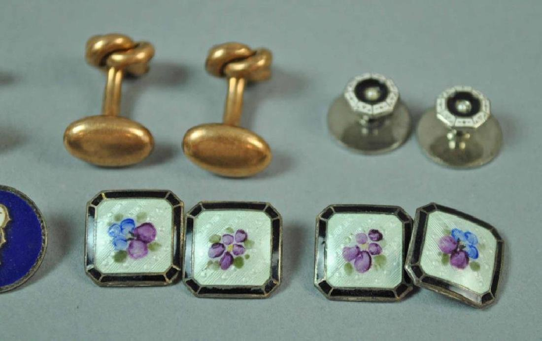 (7) CUFFLINKS AND A SHIRT STUD, MOST GOLD & 925 - 5