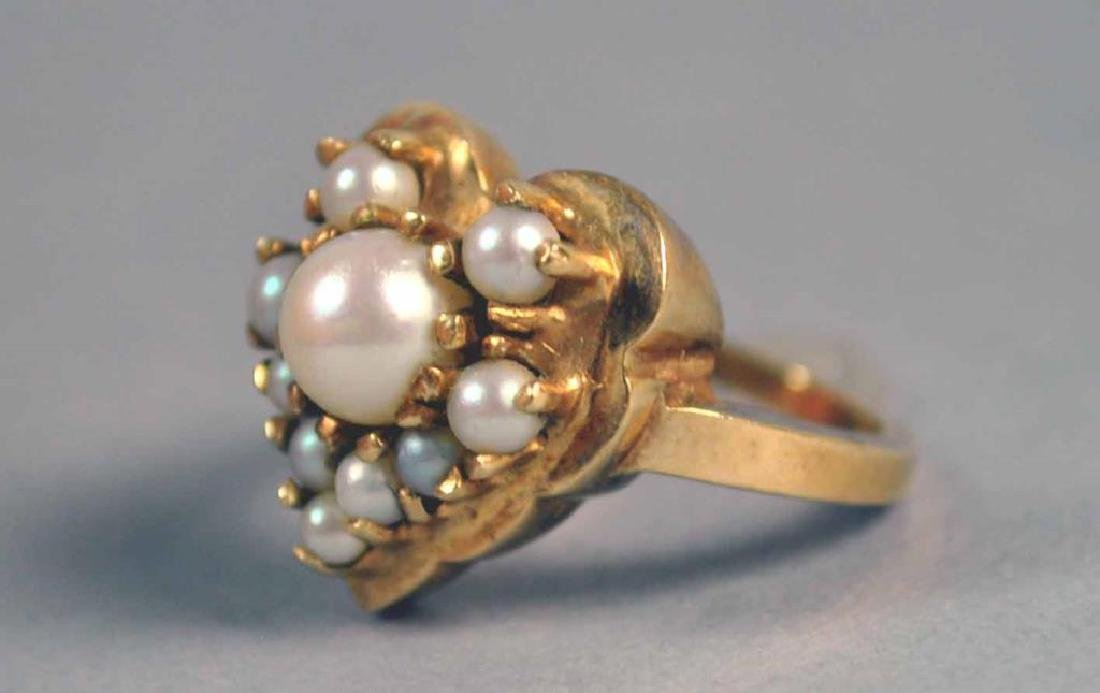 GOLD & PEARL HEART RING