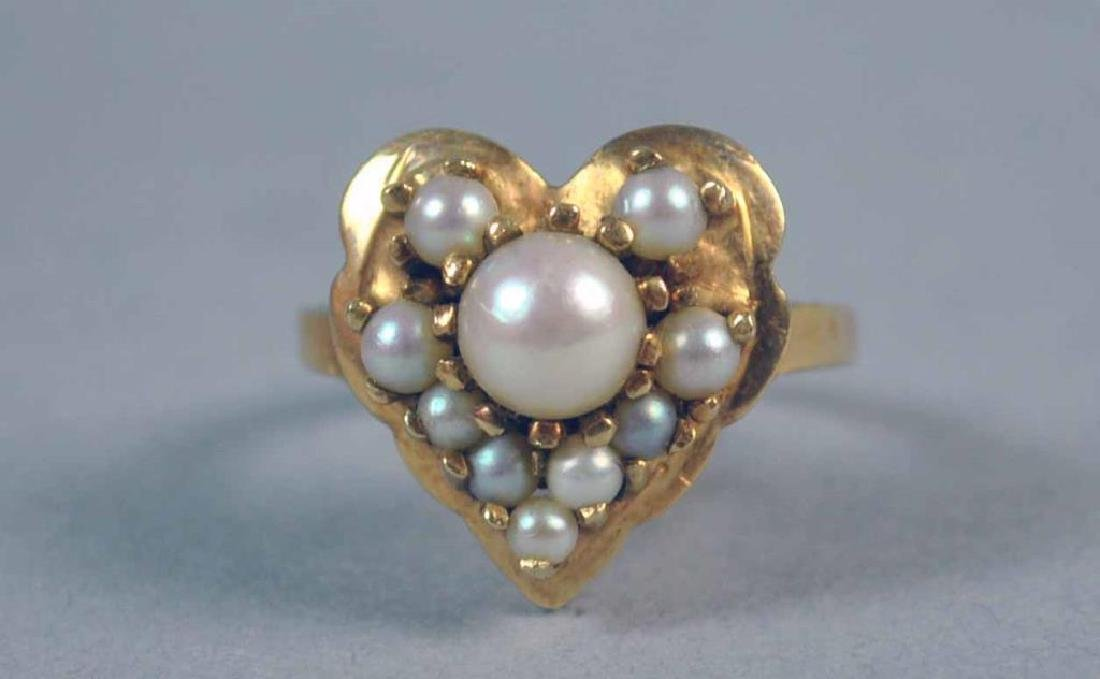 GOLD & PEARL HEART RING - 2