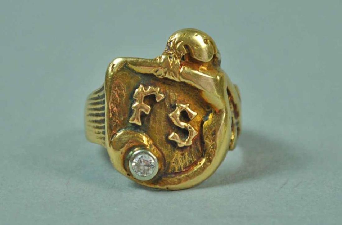 GENTS GOLD & DIAMOND CREST-FORM SIGNET RING