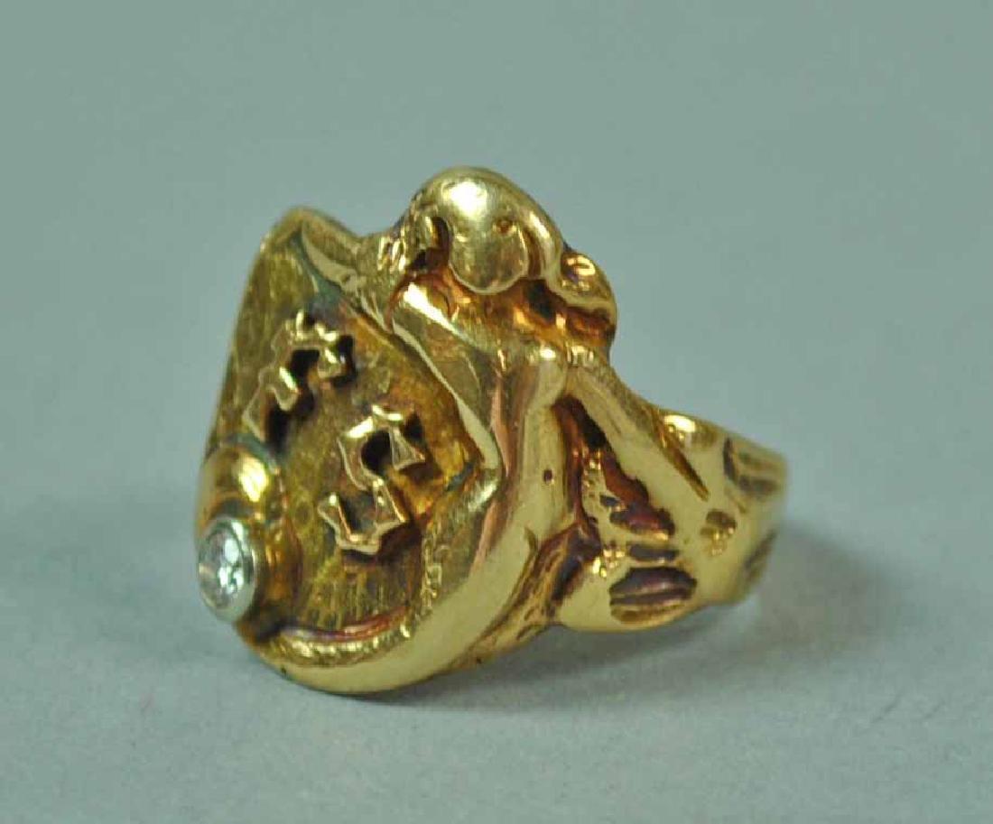 GENTS GOLD & DIAMOND CREST-FORM SIGNET RING - 2