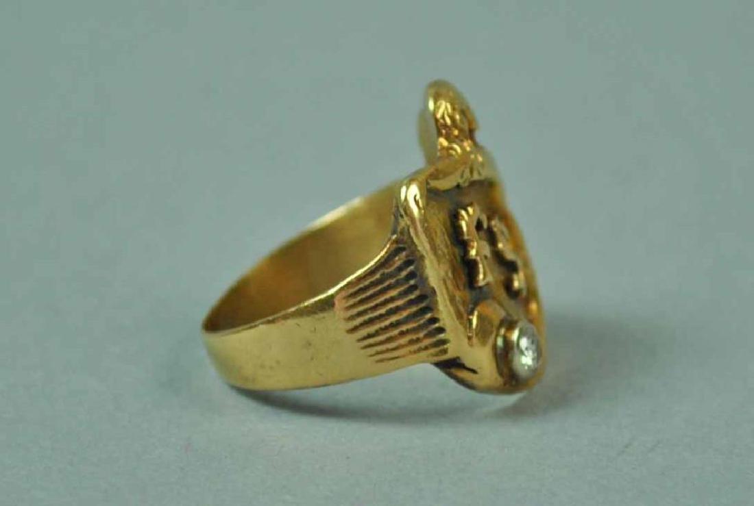 GENTS GOLD & DIAMOND CREST-FORM SIGNET RING - 3