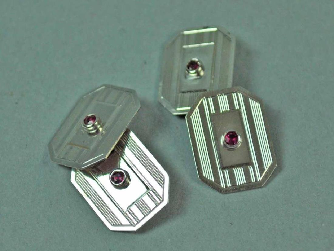 PAIR ART DECO GOLD & RUBY CUFFLINKS