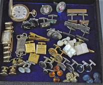 25 PIECE GENTS GROUP  CUFFLINKS  TWO WATCHES