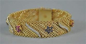 RUBY SAPPHIRE  DIAMOND WOVEN LINK BRACELET