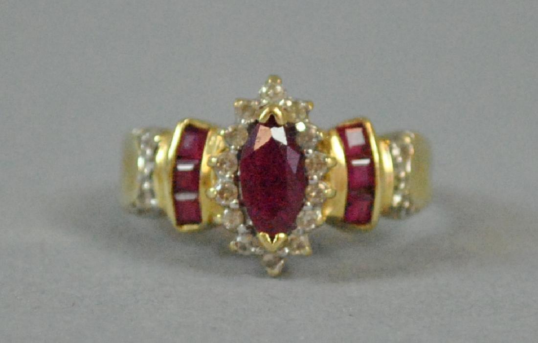 MARQUISE RUBY & DIAMOND RING