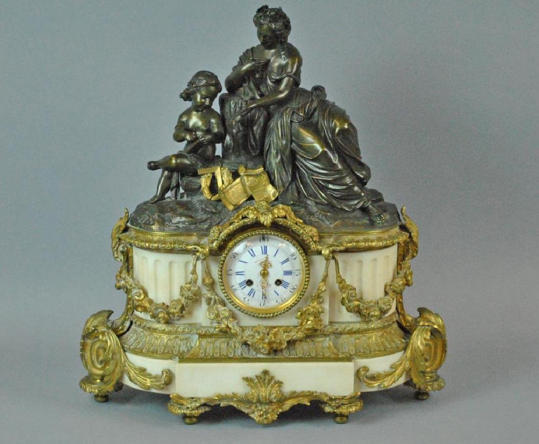 FRENCH EMPIRE BRONZE & ALABASTER MANTLE CLOCK