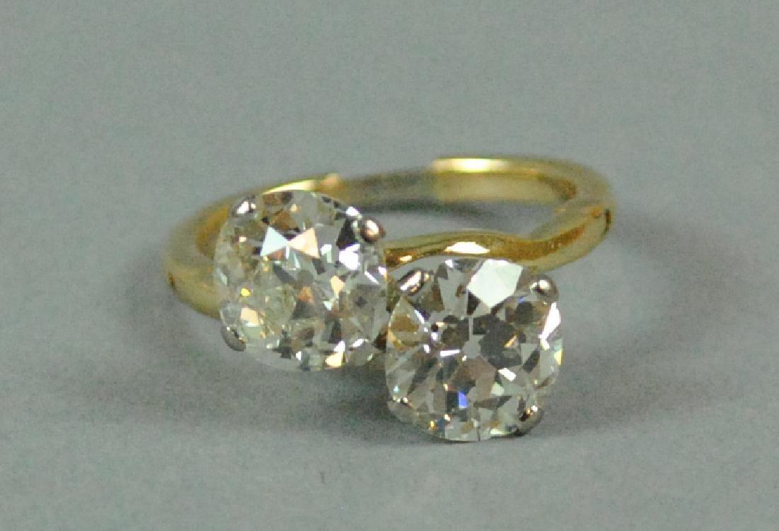 TWIN DIAMOND BYPASS RING, 4.20CTW
