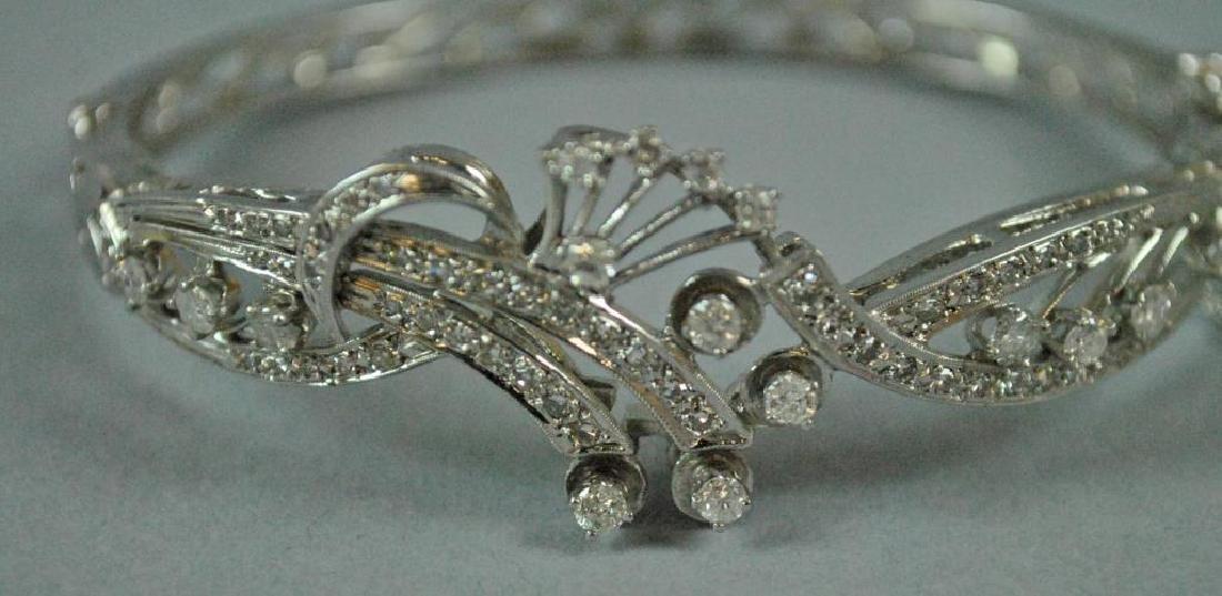 14K DIAMOND HINGED BANGLE BRACELET - 4