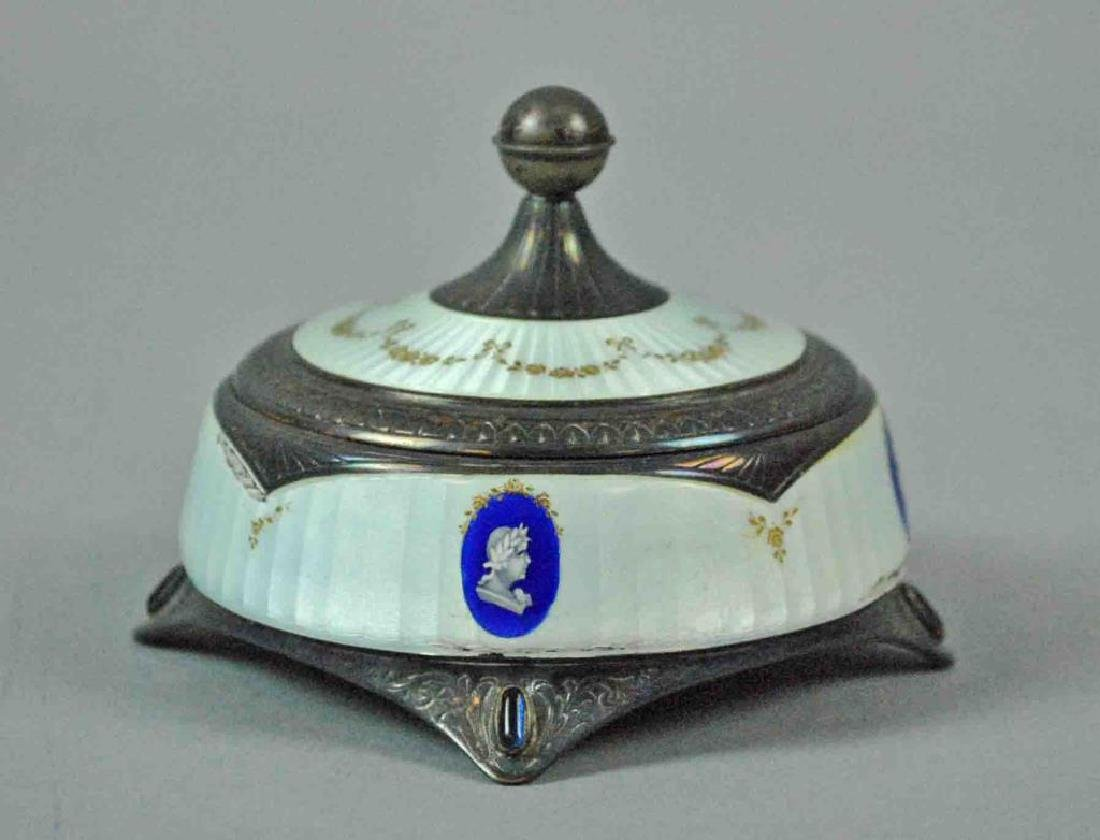 FRENCH GUILLOCHE SILVER & ENAMEL FOOTED BOX