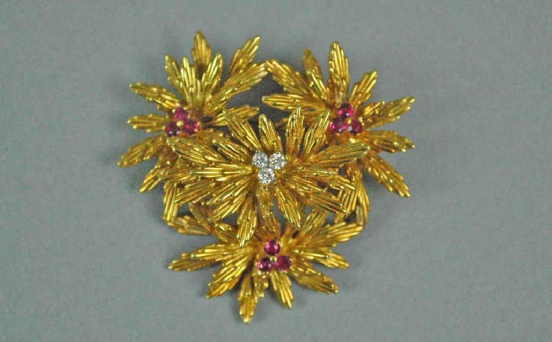 TIFFANY & CO. 18K RUBY & DIAMOND FLOWER BROOCH