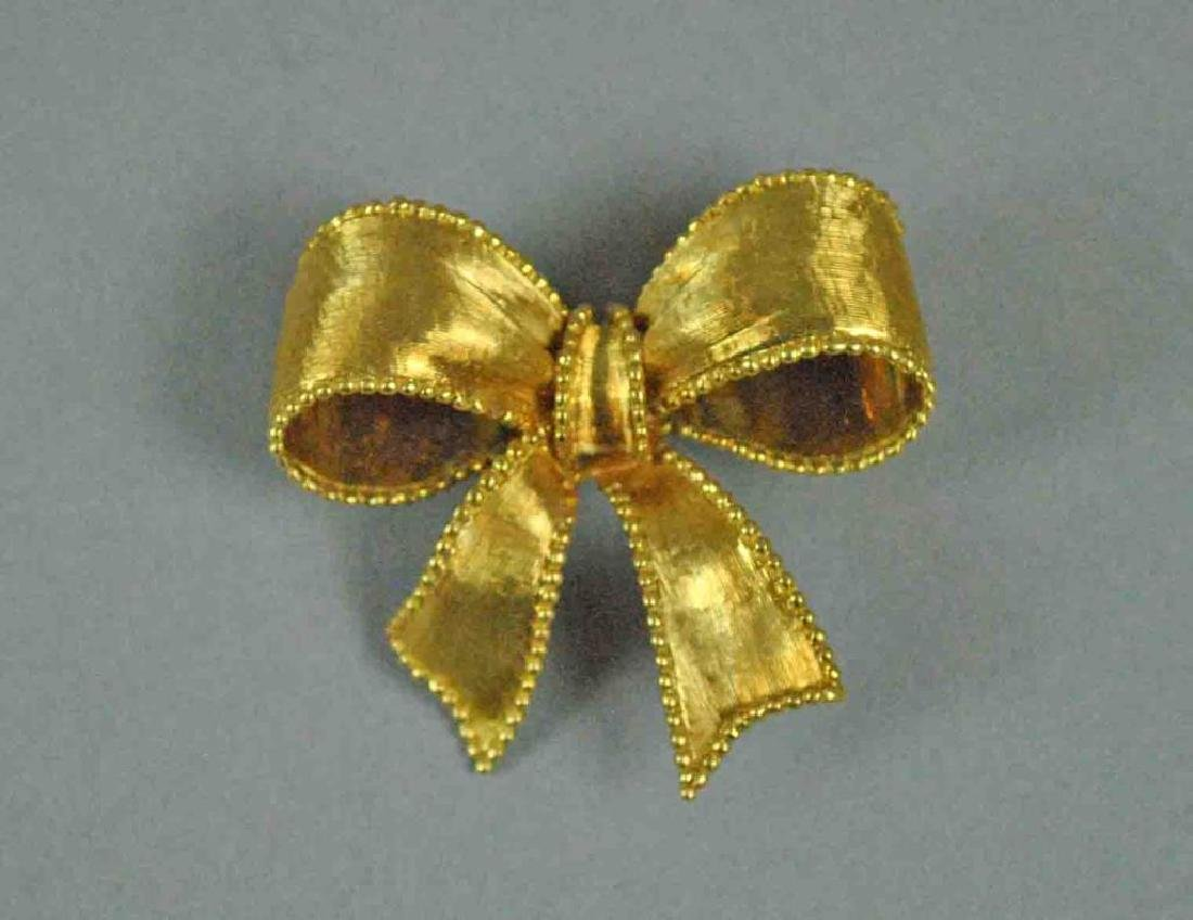 TIFFANY & CO. 18K BOW FORM BROOCH