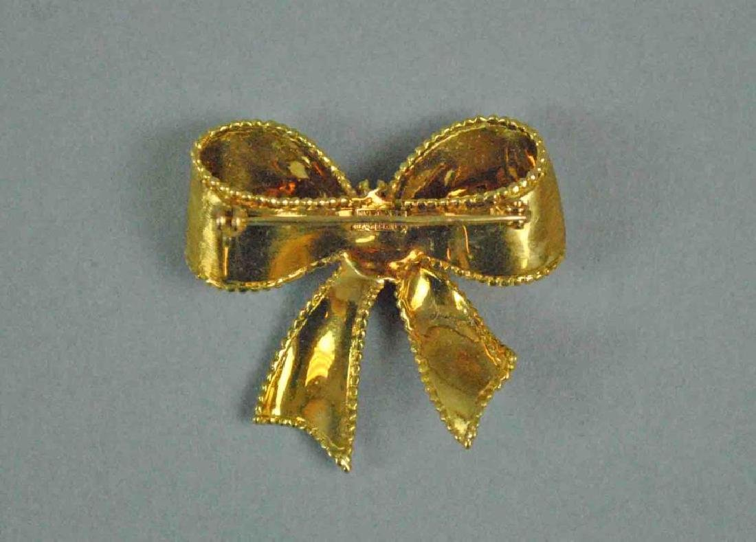 TIFFANY & CO. 18K BOW FORM BROOCH - 2