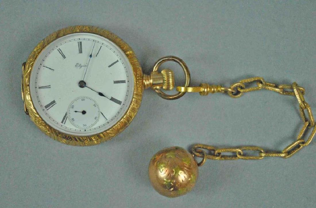 LADIES 14K ELGIN OPEN FACE POCKET WATCH & FOB
