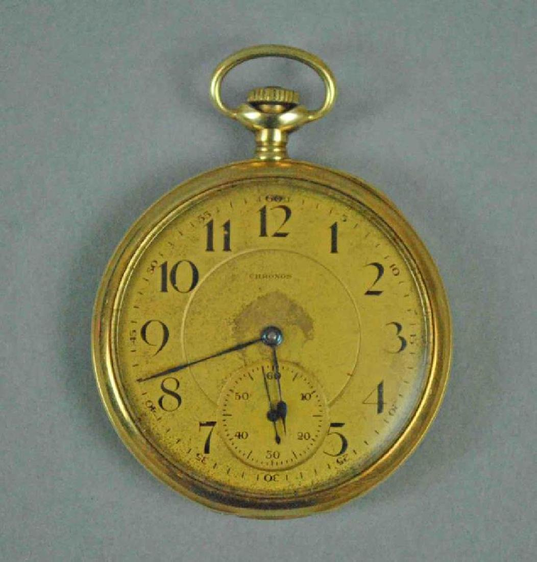 GENTS 14K CHRONOS OPEN FACE POCKET WATCH