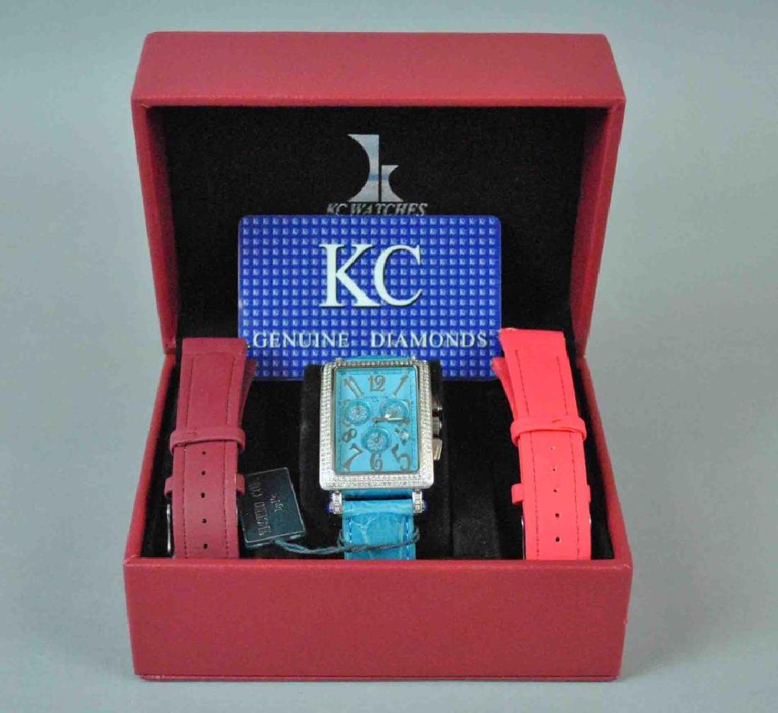 LADIES KC CHRONOGRAPH STAINLESS & DIAMOND WATCH