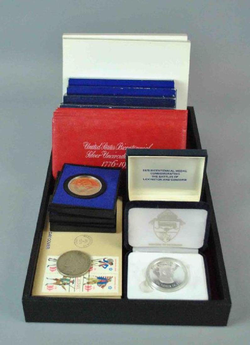 MIXED US SILVER COINS & MEDALS GROUP