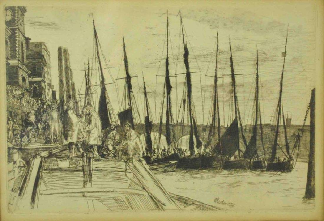 JAMES WHISTLER ETCHING - BILLINGSGATE