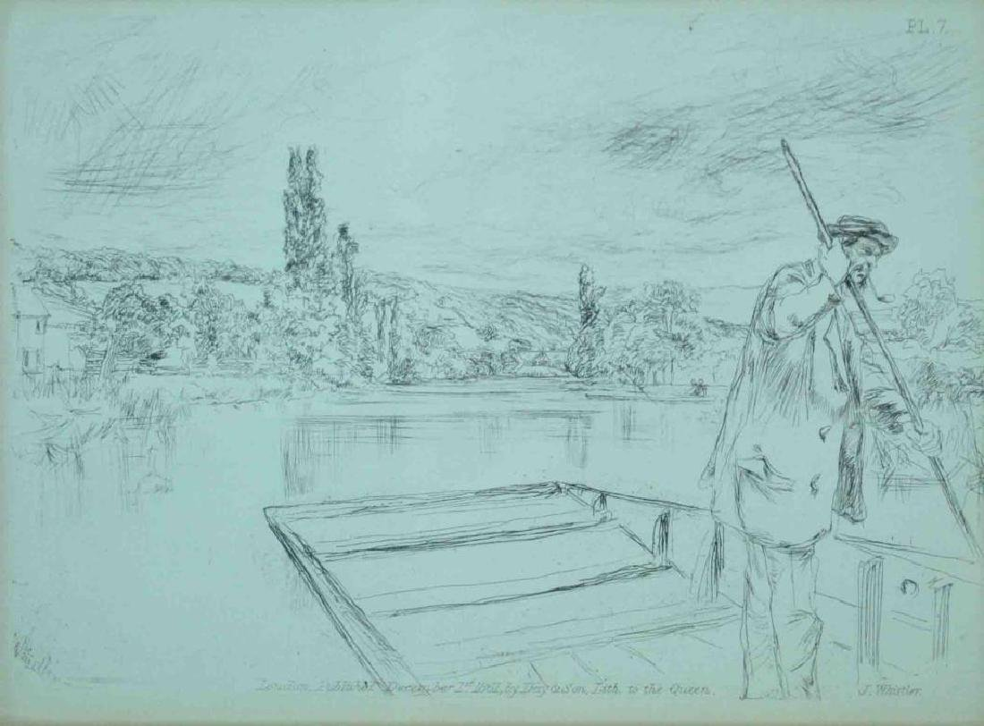 (2) JAMES WHISTLER ETCHINGS - THE PUNT & SKETCHING
