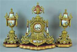 JOHN BENNETT BRONZE & PORCELAIN CLOCK GARNITURE
